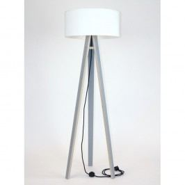 Šedá stojací lampa s bílým stínítkem a černým kabelem Ragaba Wanda