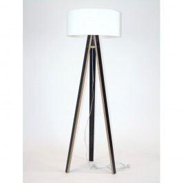 Černá stojací lampa s bílým stínítkem a transparentním kabelem Ragaba Wanda