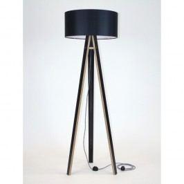 Černá stojací lampa s černým stínítkem a černo-bílým kabelem Ragaba Wanda