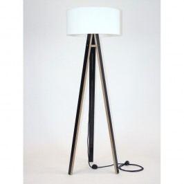 Černá stojací lampa s bílým stínítkem a černým kabelem Ragaba Wanda