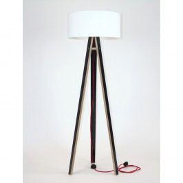 Černá stojací lampa s bílým stínítkem a červeným kabelem Ragaba Wanda