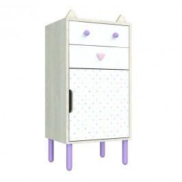 Komoda s fialovými detaily Dotties Vysoká kočka