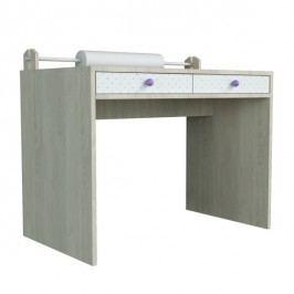 Menší psací stůl s povrchem z dýhy a fialovými detaily Dotties
