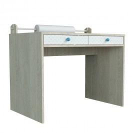 Menší psací stůl s povrchem z dýhy a modrými detaily Dotties
