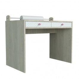 Větší psací stůl s povrchem z dýhy a růžovými detaily Dotties