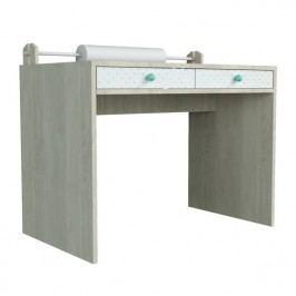 Větší psací stůl s mentolově zelenými detaily Dotties