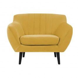 Žluté křeslo Mazzini Sofas Toscane, černénohy