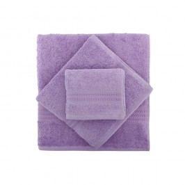 Set 3 fialových ručníků z bavlny a osušky Rainbow