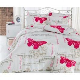 Povlečení s prostěradlem na dvoulůžko s příměsí bavlny Love Butterflies,200x220cm