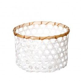 Bílý bambusový košík a'miou home  Shadows, ⌀ 33cm