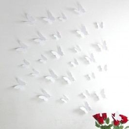 Sada 12 bílých samolepek s 3D efektem Ambiance Butterflies