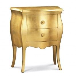 Dřevěný noční stolek ve zlaté barvě se 2 zásuvkami Castagnetti