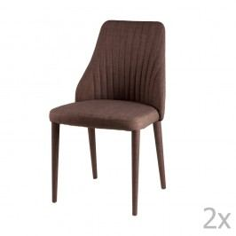 Sada 2 hnědých jídelních židlí sømcasa Dora