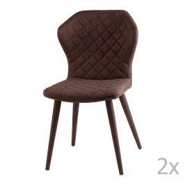 Sada 2 hnědých jídelních židlí sømcasa Avery
