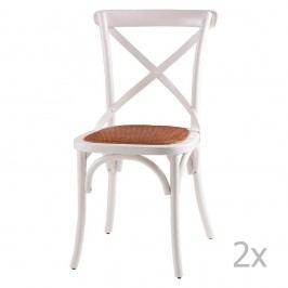 Sada 2 bílých dřevěných jídelních židlí sømcasa Ariana