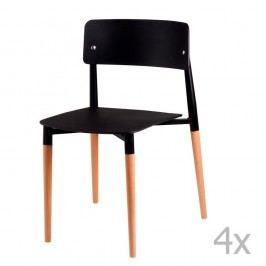 Sada 4 černých jídelních židlí s dřevěnými nohami sømcasa Claire