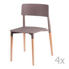 Sada 4 šedých jídelních židlí s dřevěnými nohami sømcasa Claire