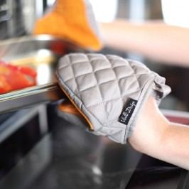 Oranžovošedá bavlněná chňapka se silikonem Vialli Design