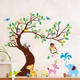 Sada samolepek Ambiance Tree, Monkeys and Elephant