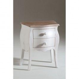 Bílý dřevěný noční stolek se 2 zásuvkami Castagnetti Isabelle
