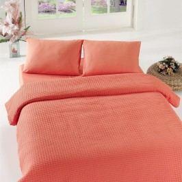 Korálově červený přehoz přes postel Coral Pique,200x240cm