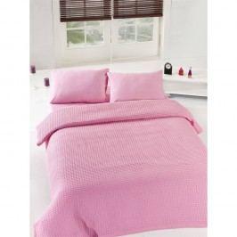 Růžový lehký přehoz přes postel Pink Pique,200x235cm