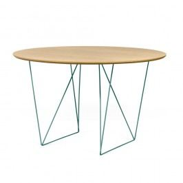 Jídelní stůl v dekoru dubového dřeva se zeleným podnožím TemaHome Row, ⌀ 120cm