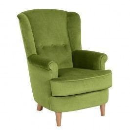 Olivově zelené křeslo ušák Max Winzer Kendra Velvet