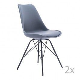 Sada 2 šedých židlí House Nordic Oslo