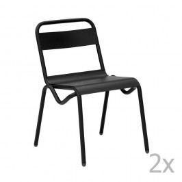Sada 2 černých zahradních židlí Isimar Anglet