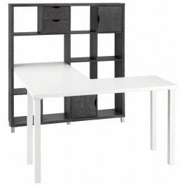 Bílý pracovní stůl s černou knihovnou Støraa Kiera