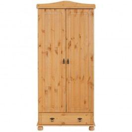 Dvoudveřová šatní skříň z masivního borovicového dřeva se zásuvkou Støraa Fiona