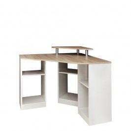 Hnědobílý rohový pracovní stůl Symbiosis Nick