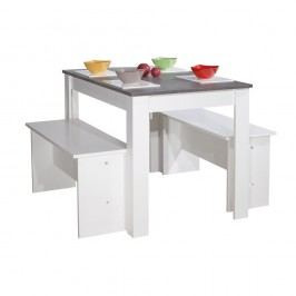 Bílošedý jídelní stůl se 2 lavicemi Symbiosis Nice