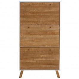 Botník z masivního borovicového dřeva se 3 výklopy a bílými detaily Støraa Rafael