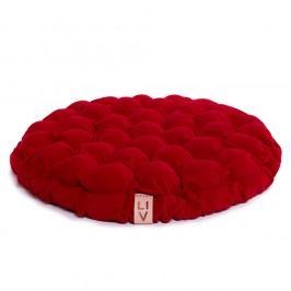 Tmavě červený sedací polštářek s masážními míčky Linda Vrňáková Bloom, Ø65cm