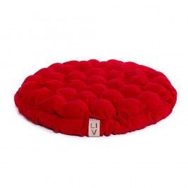 Červený sedací polštářek s masážními míčky Linda Vrňáková Bloom, Ø65cm