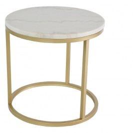 Mramorový odkládací stolek s konstrukcí v barvě mosazi RGE Accent, ⌀50cm