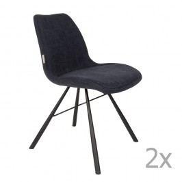 Sada 2 tmavě modrých židlí Zuiver Brent