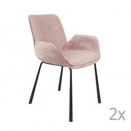 Sada 2 růžových židlí s područkami Zuiver Brit