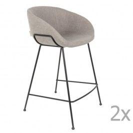 Sada 2 šedých barových židlí Zuiver Feston, výška sedu 65cm