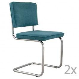 Sada 2 modrých židlí Zuiver Ridge Rib