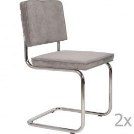 Sada 2 světle šedých židlí Zuiver Ridge Rib