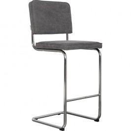Šedá barová židle Zuiver Ridge Rib