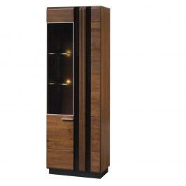 Dvoudveřová vitrína z dubového dřeva s panty na levé straně Szynaka Meble Porti