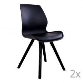Sada 2 černých jídelních židlí House Nordic Rana