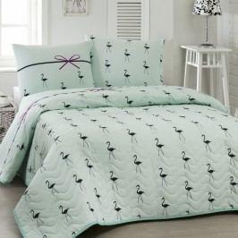 Přehoz přes postel na dvoulůžko s povlaky na polštáře Flamingo,200x220cm