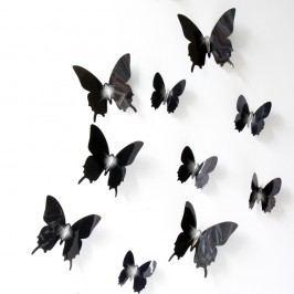 Sada 12 černých adhezivních 3D samolepek Ambiance Wall Butterflies