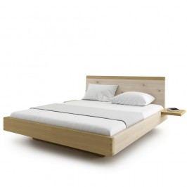 Přírodní dvoulůžková postel z masivního dubového dřeva JELÍNEK Amanta, 180x200cm