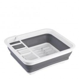 Bílo-šedý skládací odkapávač na nádobí Wenko Rack